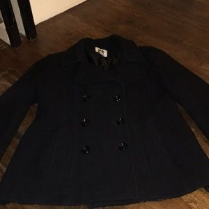 Anne Klein black double breasted pea coat